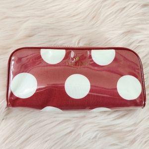 Kate Spade Makeup Bag Red White Polka Dot Cosmetic
